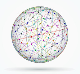 Multicoloured sphere of global digital connections, network