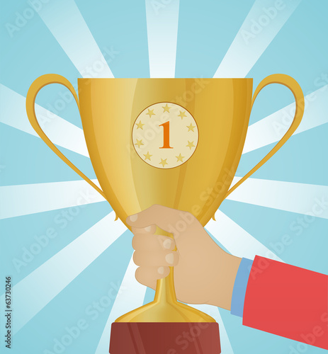 Golden cup in hand, trophy vector illustration