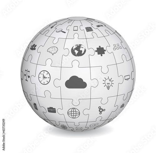 Puzzle shape of a sphere with business icons