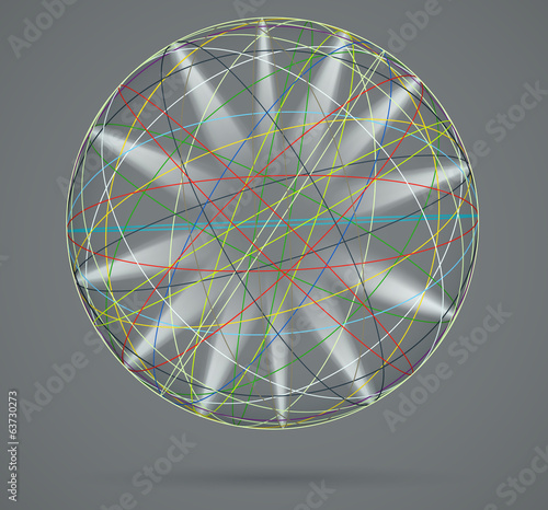 Colorful sphere with rays of light