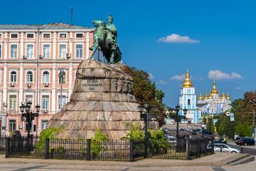 The Bogdan Khmelnitsky monument at St. Michael monastery in Kyiv