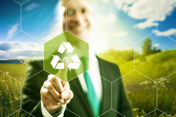 Virtual screen recycle symbol, clean technology