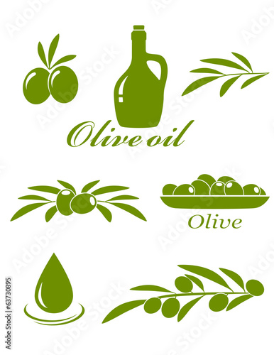 set of olive design elements
