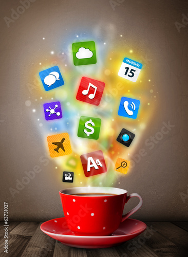 Coffee mug with colorful media icons