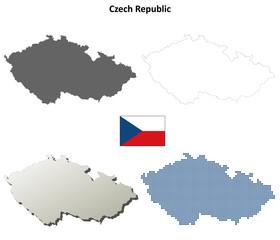Blank detailed contour maps of Czech Republic