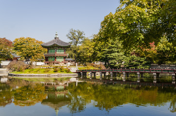 Korean temple, Emperors island in Gyeongbokgung palace. Seoul