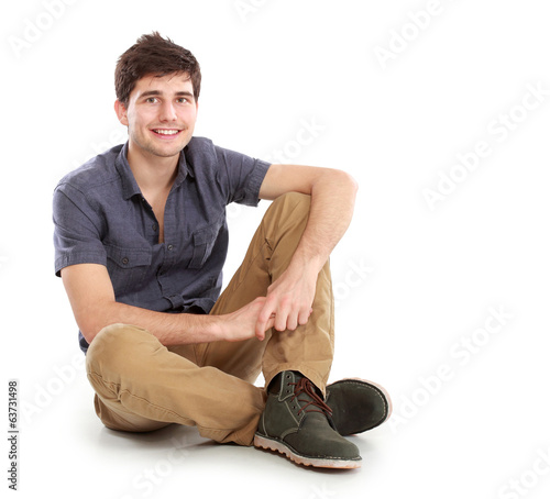 man sitting on white background