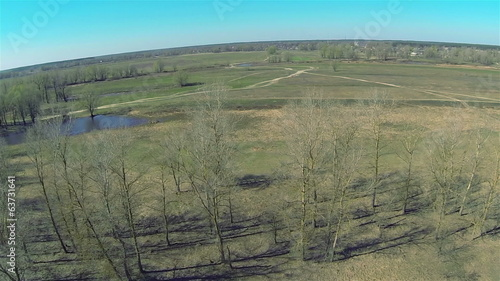 Panorama of  field and small lake. Spring Landscape. Aerial