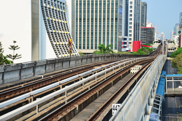 Railway of Skytrain at Bangkok Thailand