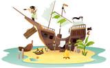 Fototapety épave bateau pirate