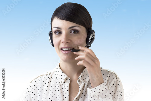Brown-haired girl with headphones