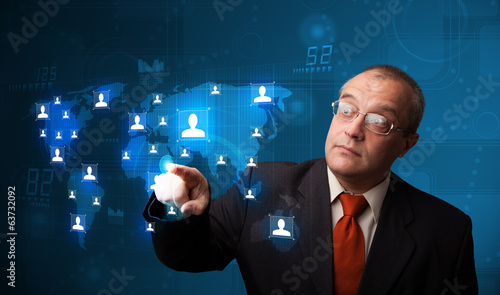 Businessman choosing from social network map