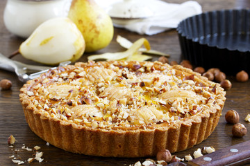 Pear pie with nuts and mascarpone.