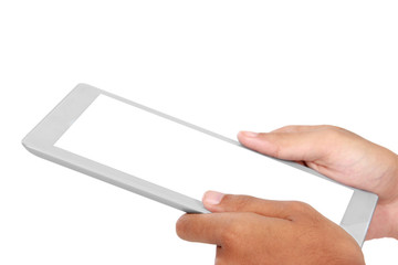 photo of a tablet held by a hands