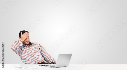 Attractive businessman with plain white copy space
