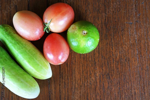Healthy food background different vegetables on wooden table