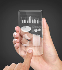 business chart financial concept on transparent screen