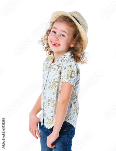 Girl wearing a hat.