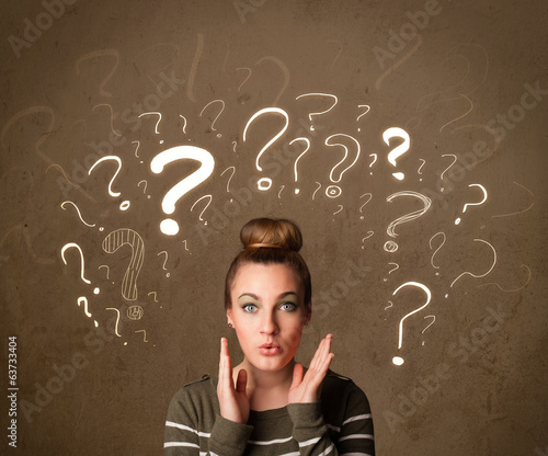 girl with question mark symbols around her head