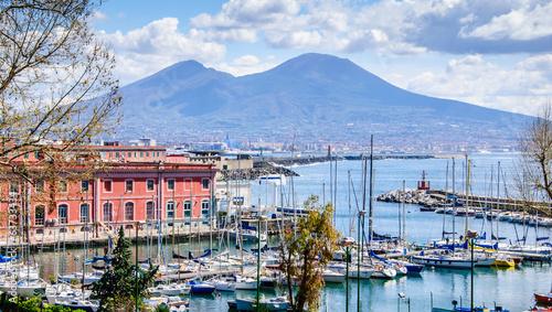 Papiers peints Ville sur l eau Port de Naples et Vésuve