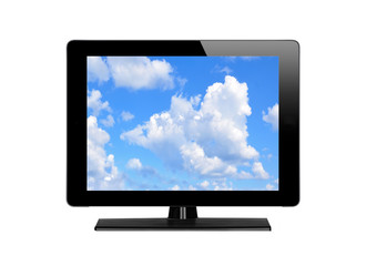 Modern TV screen and blue sky