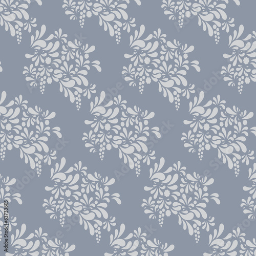 Grey floral pattern. Endless background