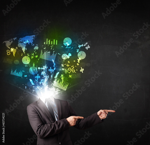 Business man in suit with graph and charts exploding from his bo