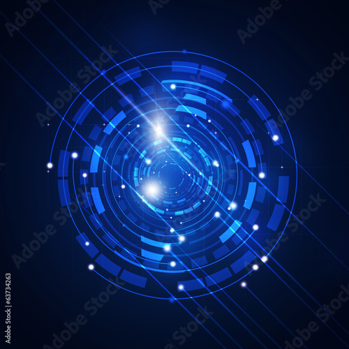 Abstract Technology Circle Blue Background