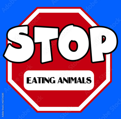 Stop sign with eating animals caption