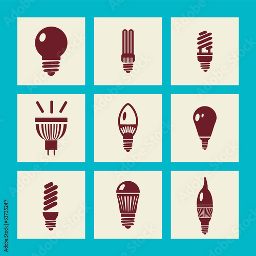lightbulbs icon set - Illustration