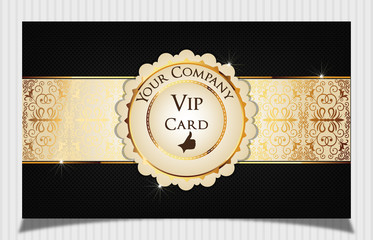 Black creative vip card decorated with floral label