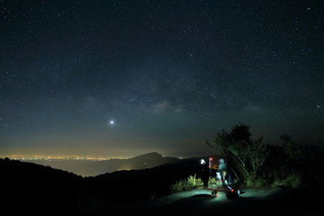 Landscape of Milky Way beautiful sky on Doi Inthanon Thailand