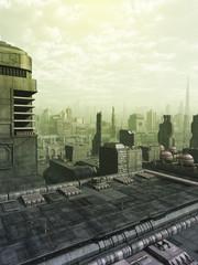 Future City Skyline in Green Haze