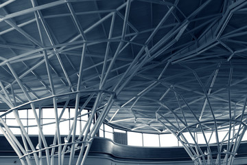steel structure under the roof of building, monochrome