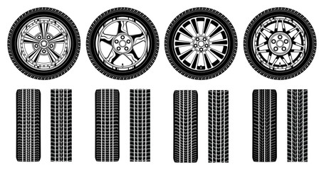 Wheel - Tires Alloy Rims and Tire Tracks
