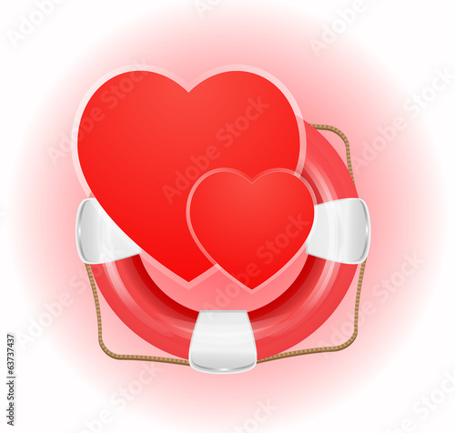 Lifesaver icon with hearts