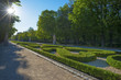 canvas print picture - Avenue with statues in the Retiro Park in Madrid