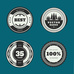 Set of retro badges. Vintage Round icons. Vector collection.