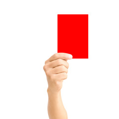 man hand holding red card