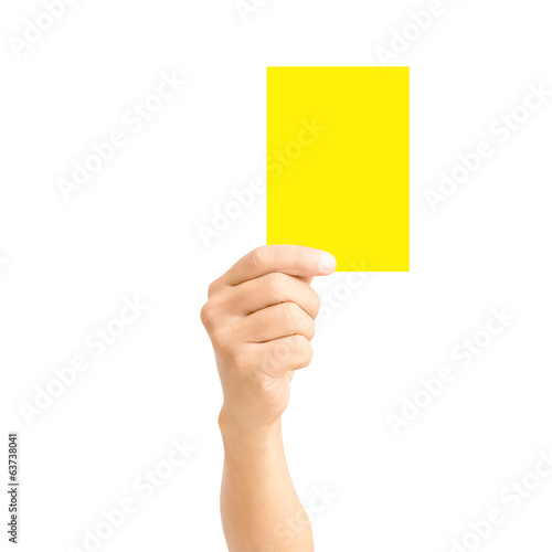 man hand holding yellow card