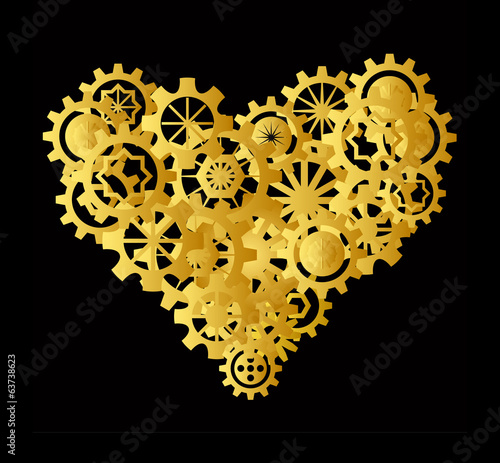 Golden heart made of gear on black background