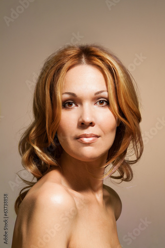Beautiful nude woman looking straight portrait