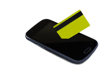Mobile devise with credit card isolated on white