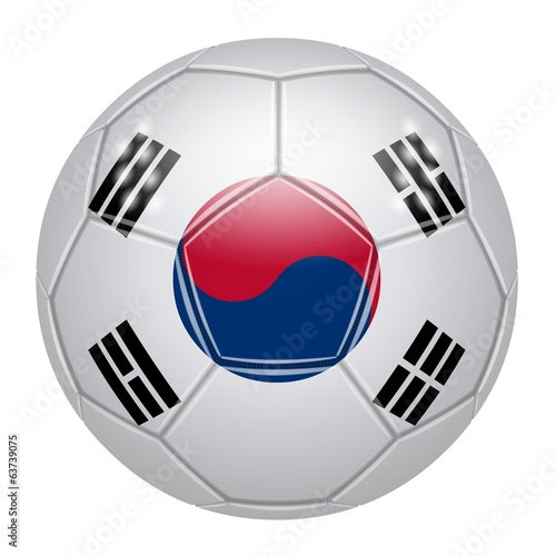 Soccer ball at the colors of South Korea