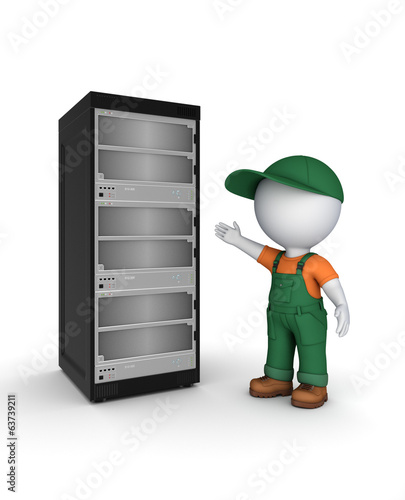 3d small person in workwear near server.