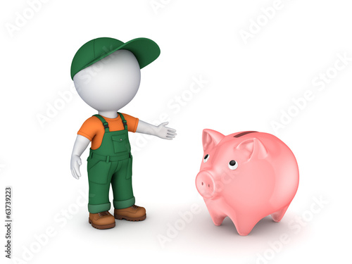 3d small person in workwear and piggy-bank.