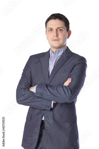 young man in gray suit isolated on white background