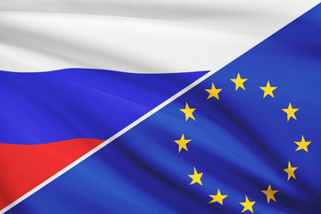 Series of ruffled flags. Russia and European Union.