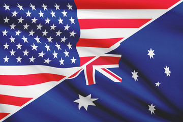 Series of ruffled flags. USA and Australia.