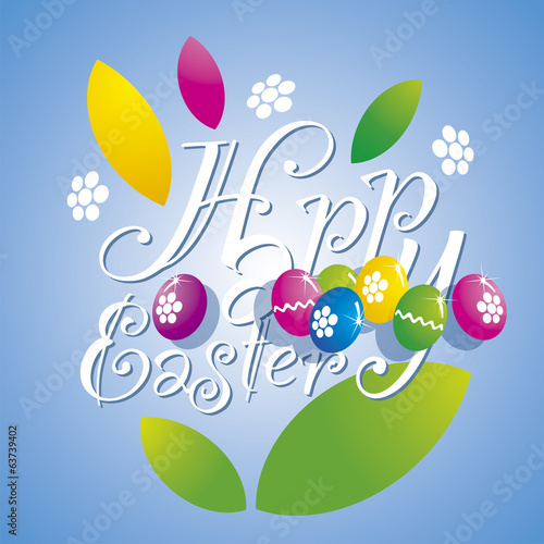 Easter flower color eggs blue background